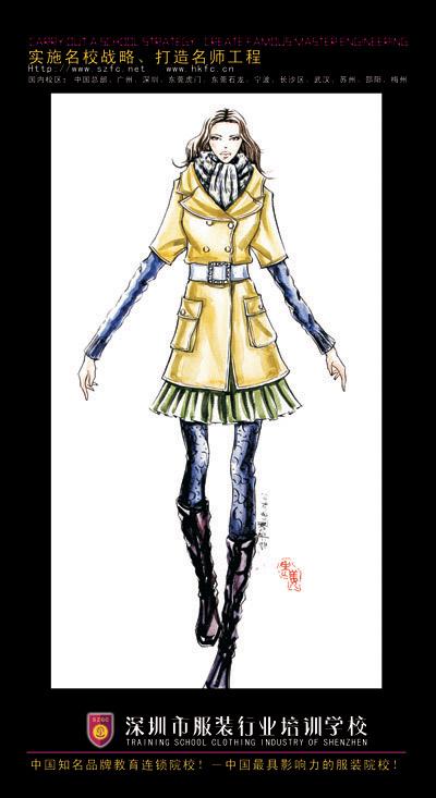 服装效果图手绘图片女时装